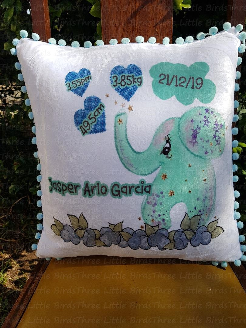 Birth Statistic Pillow - Blue pom pom edged - Elephant with Hearts
