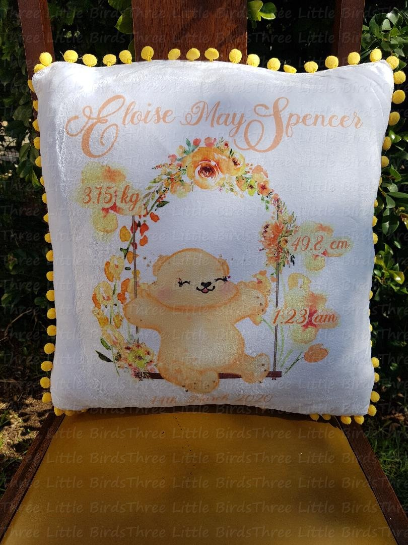 Birth Statistic Pillow - Yellow pom pom edged - Bear on Swing