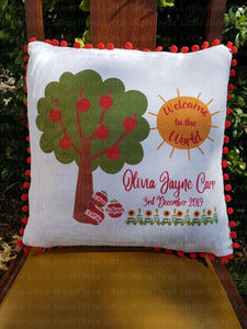 Birth Statistic Pillow Red pom pom edged - Apple Tree Welcome to the World