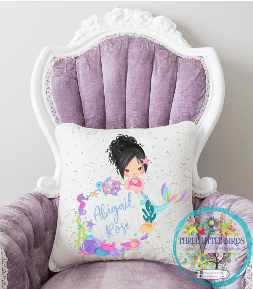 Mermaid with Name in Frame Cushion