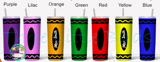 Crayon Design - Choice of 7 Colours - Double Walled Vacuum Insulated Tumbler - 20oz