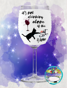 Drinking Alone Cat - Wine Glass Huggers/Matching Wine Bottle Tote