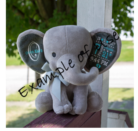 Custom Cuddly Elephant - Suitable for Birth Stats, Gifting with Personal Message, etc
