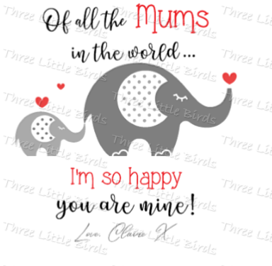 Mother's Day Elephant Cushion