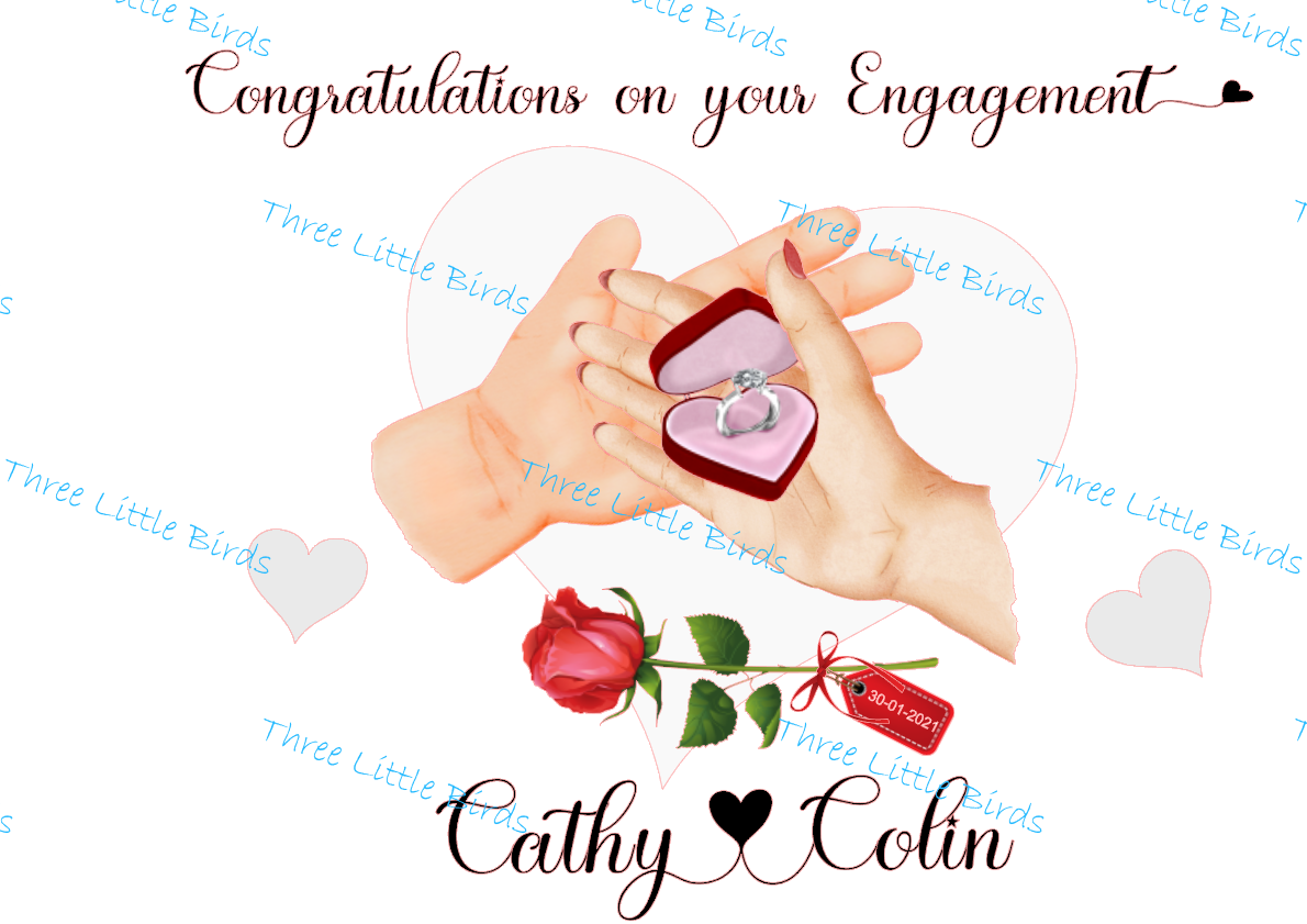 Congratulations on Your Engagement - A4 Mounted Print