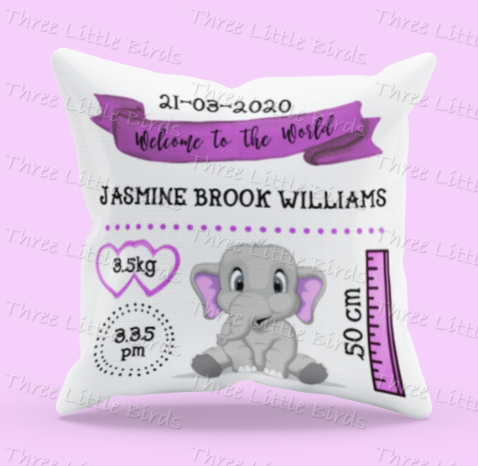Birth Statistics Elephant Cushion  - Boy or Girl