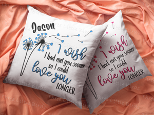 I Wish - Cushion - Choice of Blue, Pink or Yellow Detail