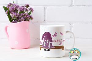 Purple Sitting Gnome Mug - Personalised