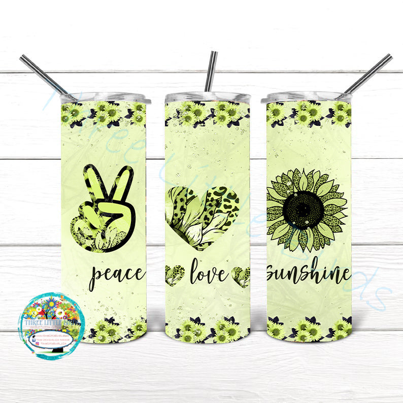 Peace Love Sunshine Design 4 Colours to Choose From - Double Walled Vacuum Insulated Tumbler - 20oz