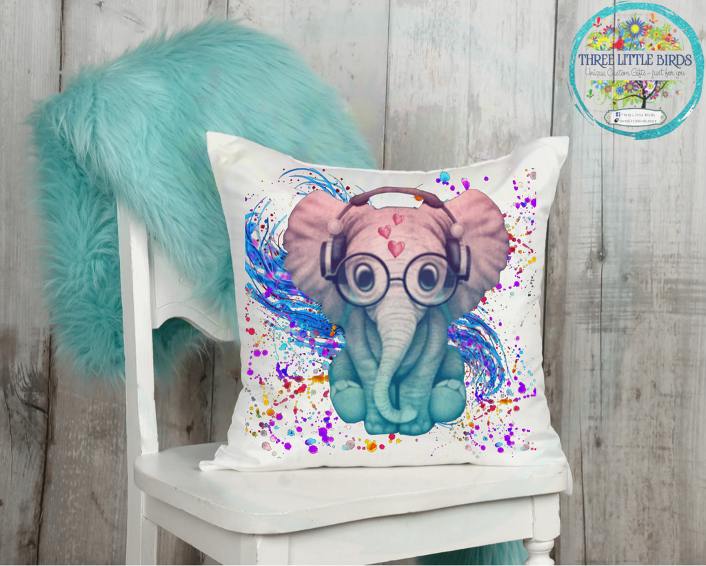 Headphones Colourful Elephant Cushion