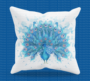 Beautiful Watercolour Peacock Cushion