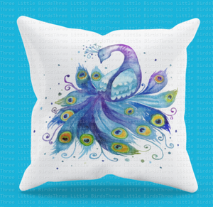 Beautiful Watercolour Peacock Cushion 2
