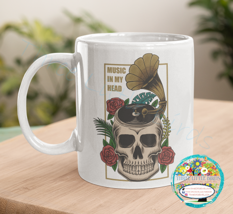 Music in My Head Skull Mug