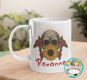Sunflower Skull Mug