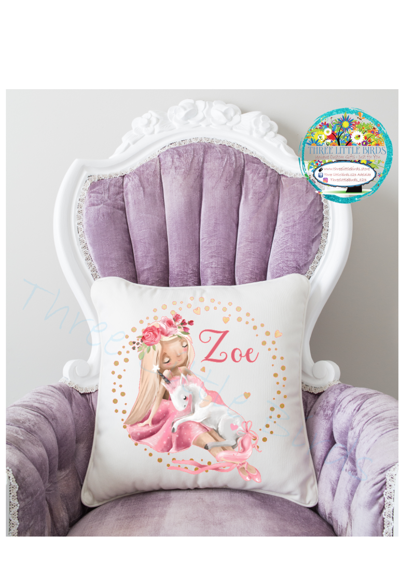 Gorgeous Watercolour Sleeping Dancer with Unicorn Cushion