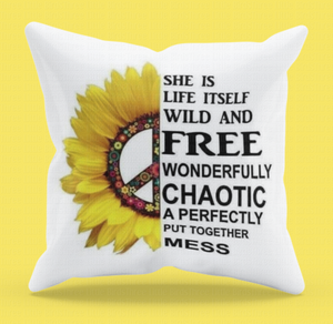 She is Life Itself - Sunflower Cushion