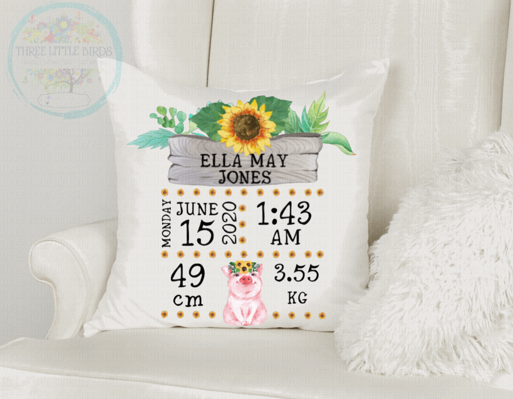 Gorgeous Sunflower Birth Statistics Cushion  - Boy or Girl