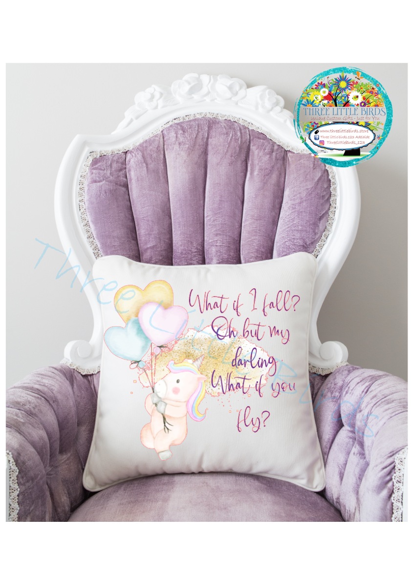 What if you Fly?  Unicorn Cushion