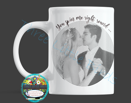 Vinyl Record Inspired Design Mug - Your Own Photo and Choice of Lyrics/Phrase!
