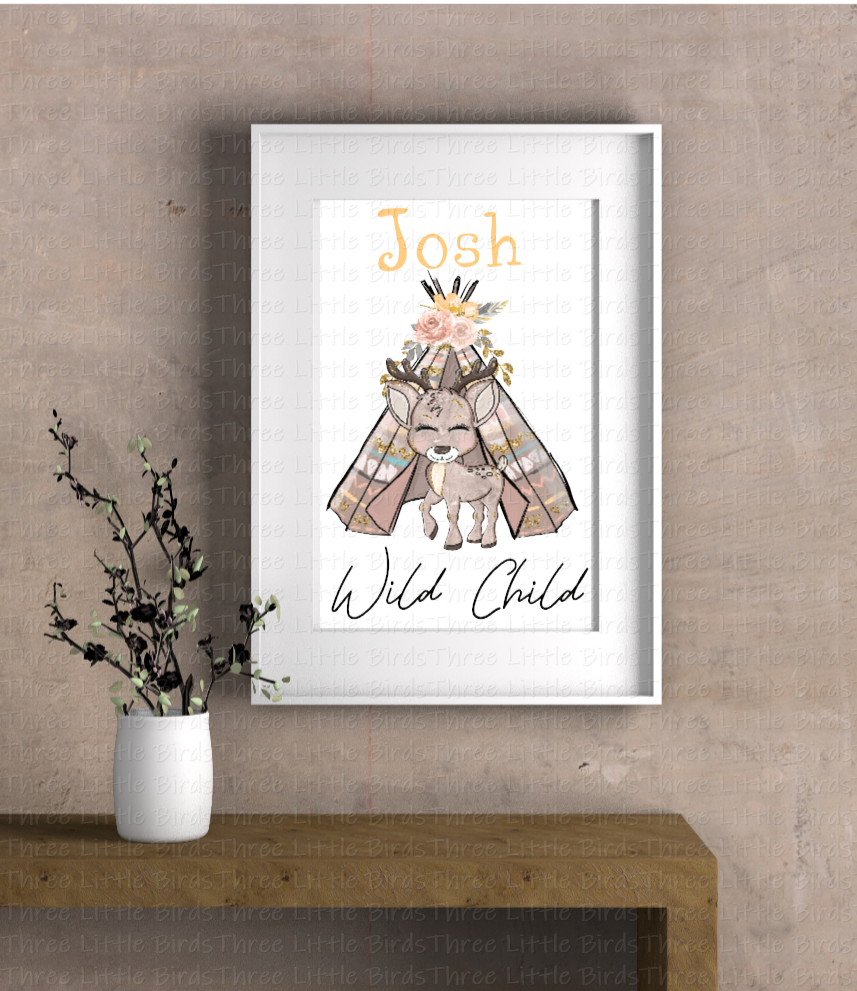 A4 Mounted Print - Boho Elephant, Fox or Deer