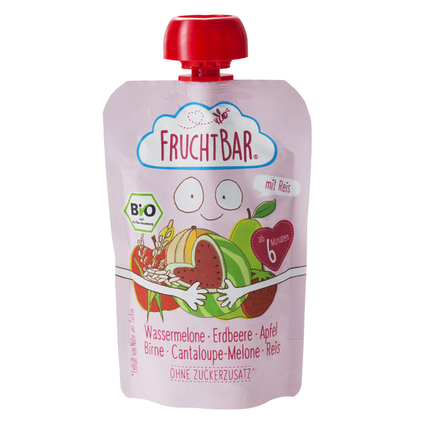 [T] Organic Fruit Puree with Rice - Watermelon, Strawberry, Apple, Pear & Cantaloupe 100g