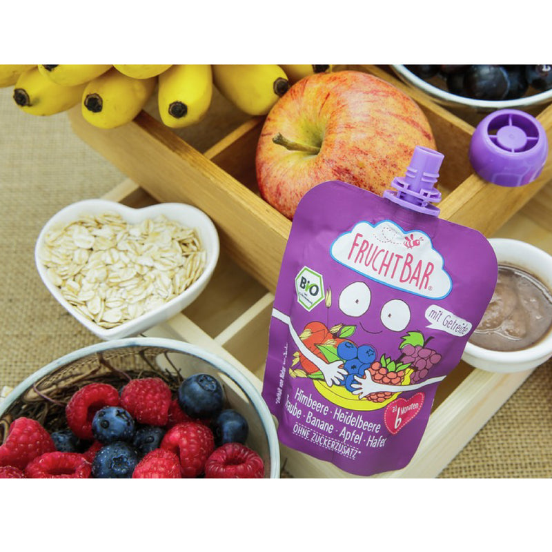 Organic Fruit Puree with Oat - Raspberry, Blueberry, Grape, Banana & Apple 100g