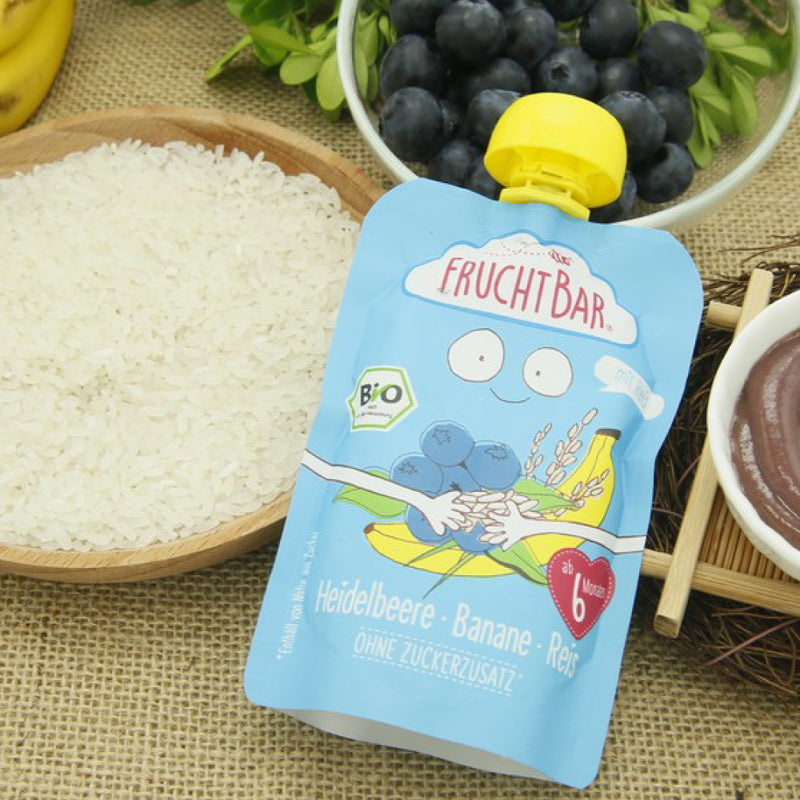 Organic Fruit Puree with Rice - Blueberry & Banana 100g