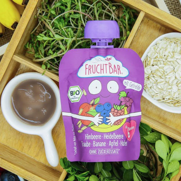 [T] Organic Fruit Puree with Oat - Raspberry, Blueberry, Grape, Banana & Apple 100g