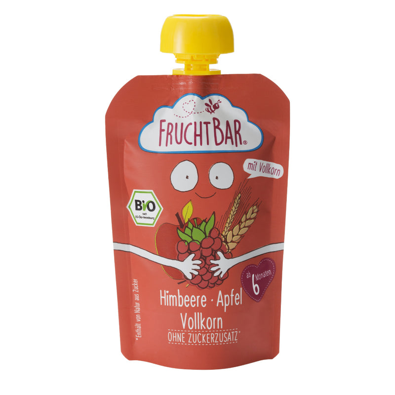 Organic Fruit Puree with Whole Grain - Raspberry & Apple 100g