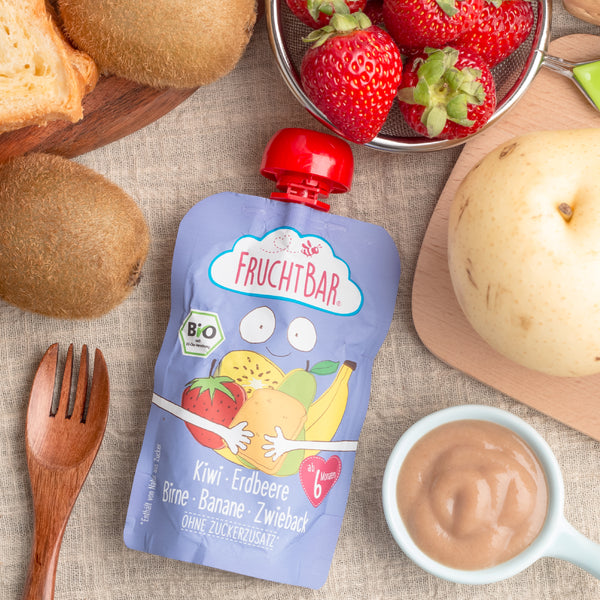 Organic Fruit Puree with Rusk - Kiwi, Strawberry, Pear & Banana 100g