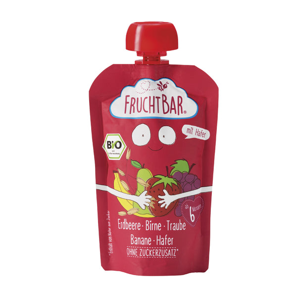 Organic Fruit Puree with Oat - Strawberry, Pear, Grape & Banana 100g