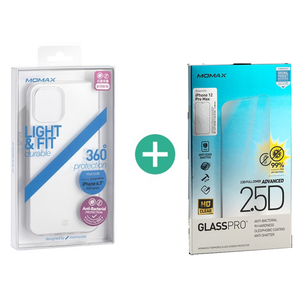 (Bundle Set) Momax Glass Pro+ 2.5D  Screen Protector & Soft Yolk Case (for iPhone 12 Pro Max)