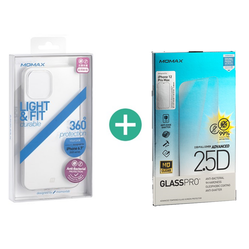[T] (Bundle Set) Momax Glass Pro+ 2.5D  Screen Protector & Soft Yolk Case (for iPhone 12 Pro Max)