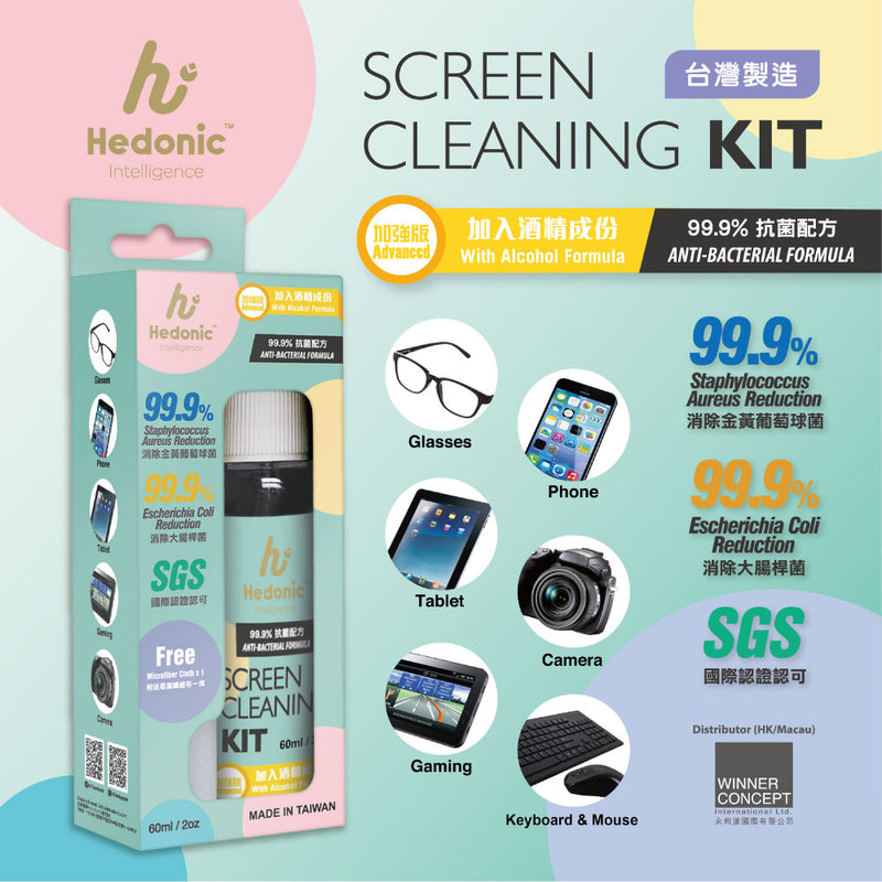 Hedonic Intelligence 60ml Screen Cleaning Kit (1set 3pcs), Unit Price: HK$168/1set