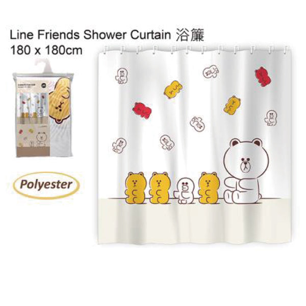 LINE FRIENDS SHOWER CURTAIN 180X180CM