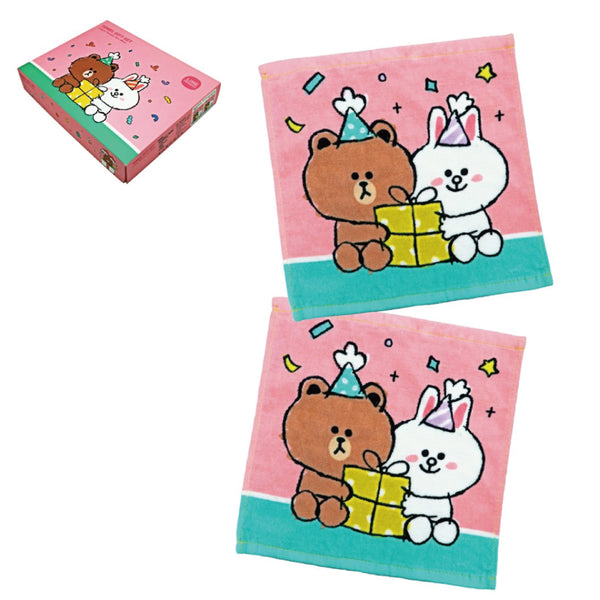 Line Friends 2P Face Towel Set 30x30cm