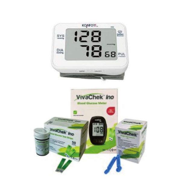 VivaChek BGMS Starter Kit I + Konofort BP-55G Wrist Blood Pressure Monitor