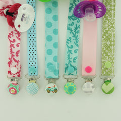 Cover Button Pacifier Clips with KAM Plastic Snaps