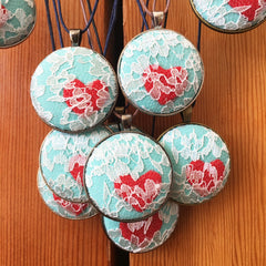 Fabric Cover Button Pendant Necklace