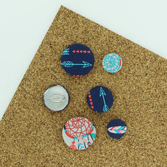 Fabric Cover Button Brooch Pin