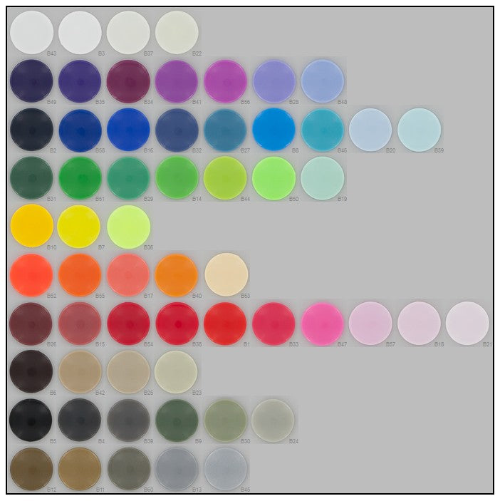 Compact Size 16 KAM Plastic Snap Color Chart by I Like Big Buttons!
