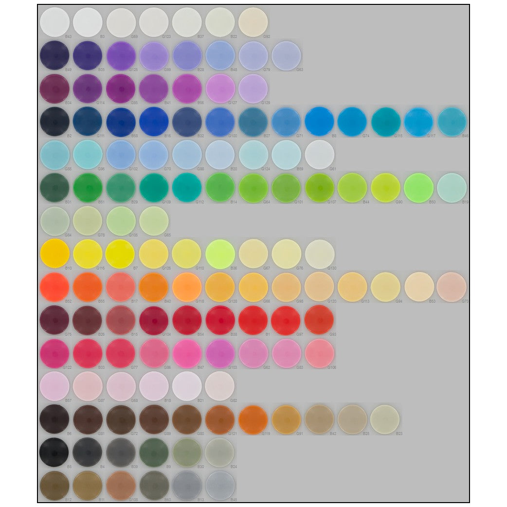 Compact Size 20 KAM Plastic Snap Color Chart by I Like Big Buttons!