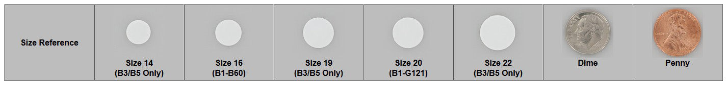 KAM Plastic Snap Size Reference Chart