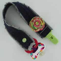 Jean Pacifier Clip with Fabric Rosette