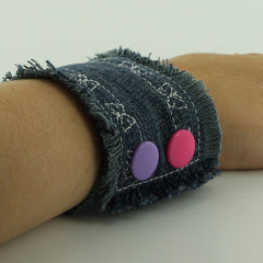 Upcycled Jean Bracelet Cuff with KAM Plastic Snaps