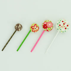 Fabric Cover Button Bobby Pins