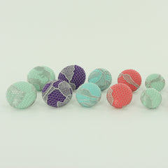 Lace & Fabric Cover Button Earrings