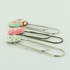 Fabric Cover Button Jumbo Paper Clip Bookmarks