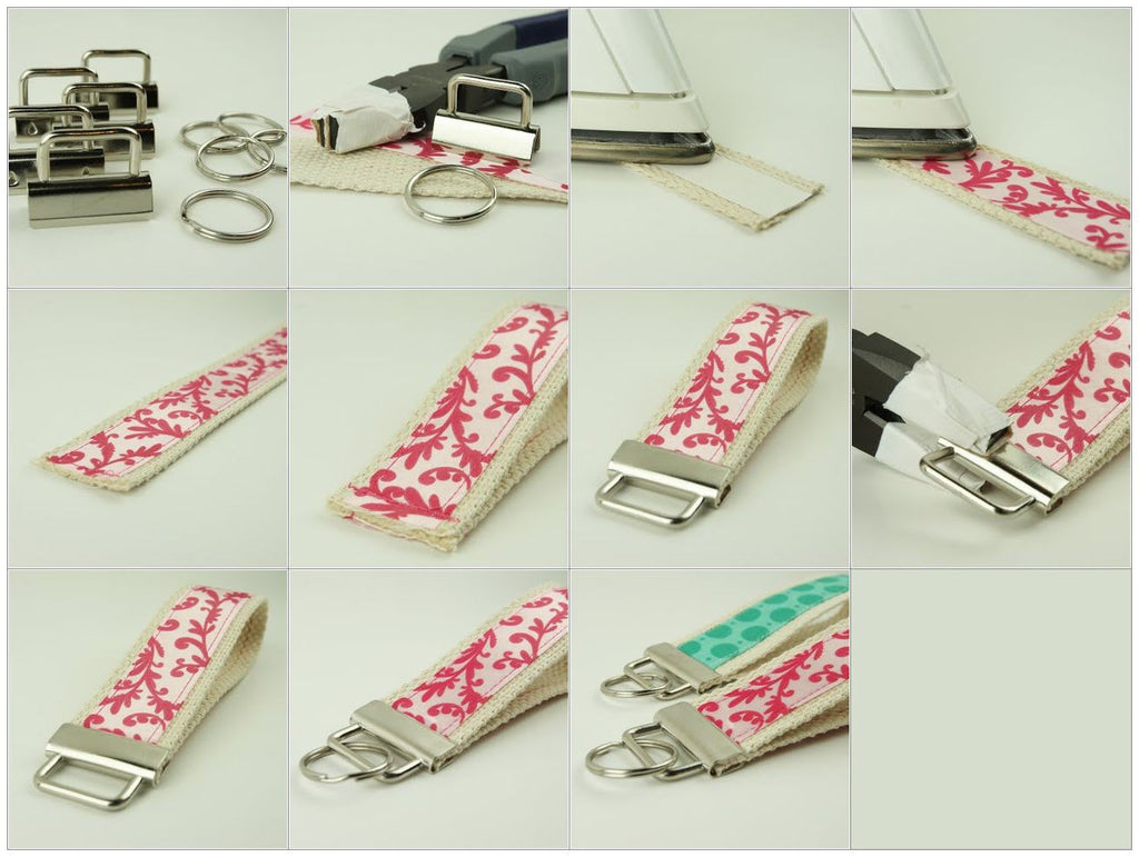 Key Fob Hardware Ribbon and Cotton Webbing Wristlet Tutorial