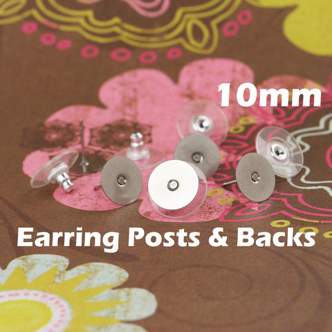 10 mm Stainless Steel Earring Posts and Backs with Glue Pads